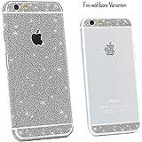 Glitzerfolie iPhone 6 iPhone 6s Diamond Skin Bling Schutzfolie Glitzer Silber Pink Gold Display Rückseite, Farbe:Weiß