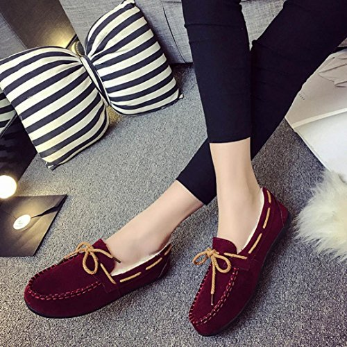 Somesun Mujeres Zapatos Planos Casuales, Otoño Invierno Mujeres Calientes Pisos De Goma Suave Guisantes Redondos Ocasionales Zapatos Planos Vino