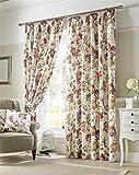 Homescapes romantische Kräuselband Gardinen Vintage Hortensien L 228 x B 165 cm Creme Vorhang Schals 2 Stück Klassische Fertiggardinen Blickdicht