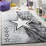 Paco Home Teppich Kinderzimmer Stern Design Spielteppich Kinderteppich Kurzflor in Grau, Grösse:80x150 cm