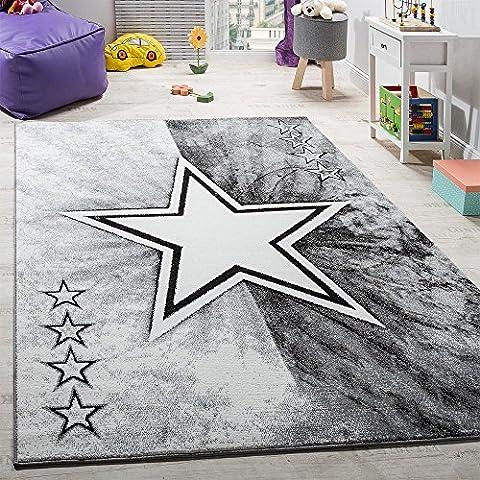 Teppich Kinderzimmer Stern Design Spielteppich Kinderteppich Kurzflor in Grau, Grösse:120x170