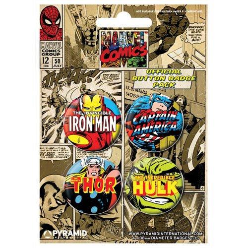Juego de 4 chapas Marvel Comics para coleccionistas