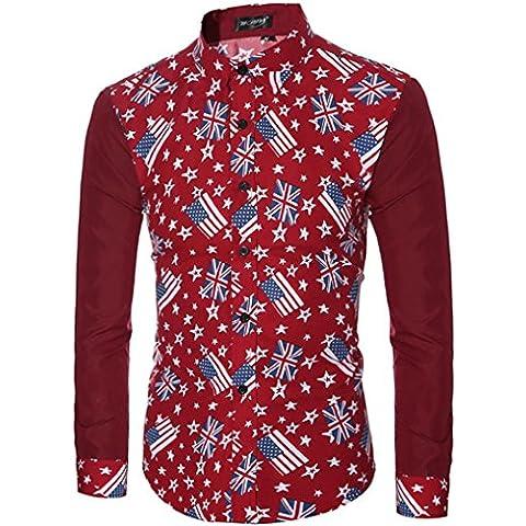 Tops Maglietta Clode® Moda Uomo Casual Camicie Manica Lunga Slim Fit Stampa Top Maglietta