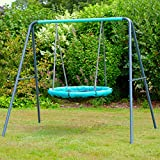 Rebo UFO Bird Nest Metal Swing Set - Childrens Garden Swing, Metal Nest