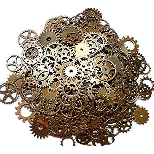 Wonque Steampunk Cyberpunk Uhrenteile, Vintage-Zahnräder, Räder, Schmuck, Basteln, 100 Stück (Vintage Uhrenteile)