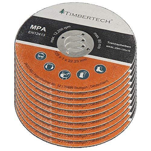 Disco 125 metal, Diámetro 125mm, Espesor 1mm, Diámetro Interior 22,23mm, 10 piezas | Disco de Corte para Amoladora, Bosch