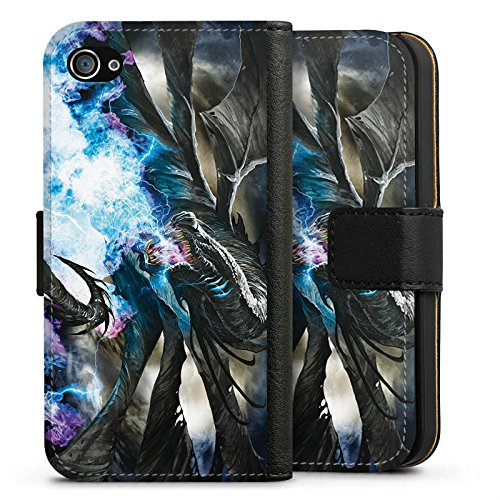 Apple iPhone X Silikon Hülle Case Schutzhülle Drache Eis Epic Sideflip Tasche schwarz