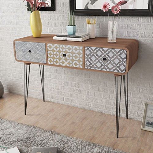 Festnight- vislone armadietto laterale/tavolo consolle/cassettiera moderno con 3 cassetti per salotto/soggiorno/ingresso/camera da letto