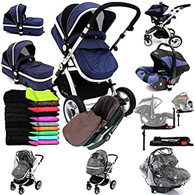 i-Safe System + iSOFIX Base - Navy Trio Travel System Pram & Luxury Stroller 3 in 1 Complete with Car Seat + Footmuff + Carseat Footmuff + RainCovers