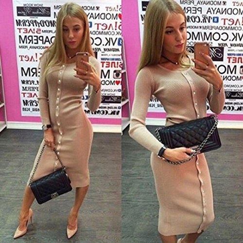 Ineternet Femmes bouton manches longues robess BodyCon pull en tricot Automne-hiver Kaki