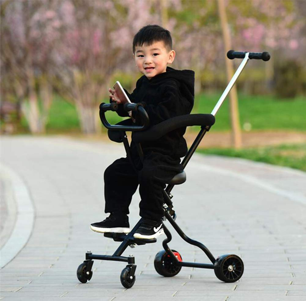 Baby Artifact Children's Trolley Baby Lightweight Folding High Landscape Anti-Rollover Door Slip Baby Stroller,Pink  1. Foldable design, easy to put into the trunk, making the journey easier. 2. The track is widened, the four-wheel area is occupied, the grip is stronger, the center of gravity is more reasonable and more stable. 3. 360° freely rotates the front wheel and rear wheel brakes. 6