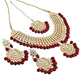#9: Apara Ruby Kundan Studded Link Necklace Jewellery Set for Women