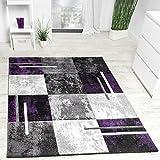 PHC Designer Teppich Modern Konturenschnitt Meliert Karo Muster Lila Grau Schwarz, Grösse:160x230 cm