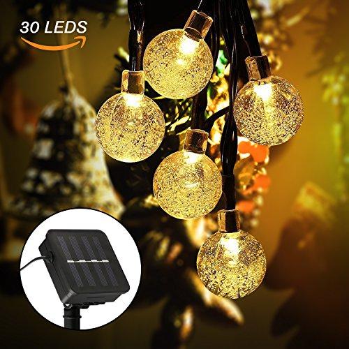 Cadena de Luces, Guirnalda de Luces Solar Exterior 8 Modos 6.5M 30 LED, Cristal Luz de Bola Decorativa para Jardín, Terraza, Boda, Árbol de Navidad, Fiesta, Patio - Blanco Cálido