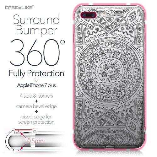 CASEiLIKE Coque iPhone 7 , Ultra Mince Crystal Case TPU Silicone Clair Transparente Exact Fit Soft Housse Etui Coque Pour iPhone 7 Dessin au trait indien 2063