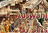 PREMIUM Krippenfiguren 11-12 cm KFG-MDS mit Deko, 21 -tlg. SET, Figuren bis 12cm hoch, große hochwertige Ausführung und feine Mimik, Komplettset mit Schäfer, Hirte mit Schaf / Schafe und Ziegen, Ochs und Esel, NEU - handbemalt - für große Holz Weihnachtskrippe + Zubehör, Design XXL Maria Josef Jesus Weihnachtsgeschichte aus Echtholz - Imitat