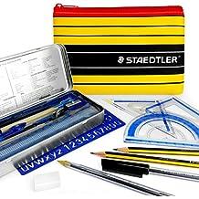 Noris Club Staedtler, set di matite e strumenti di calcolo, indispensabile per la scuola e il liceo, con astuccio Staedtler coordinato