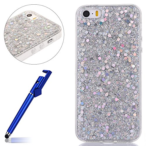 Custodia iphone 7 4.7, Cover per iphone 8 Silicone, iphone 7 Glitter Cover, MoreChioce Moda Glitter Sparkle Bling bling Brillante Morbido 3d Gel TPU Silicone Gomma Cover Case Custodia per iphone 8 4.7 B-Argento