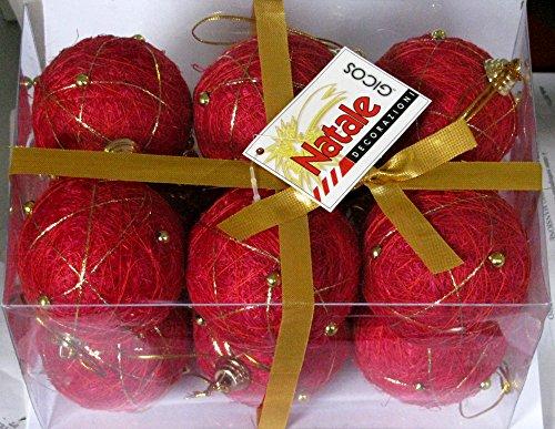 Idea Natale: set di 12 PALLE DECORATE con PERLINE e filo oro per ALBERO disponibili solo COLOR ROSSO. 6cm diametro