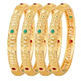 Jewels Galaxy Delicate Design Hand crafted Copper Ruby & Green Gold Plated Bangle Set For Women- Set of 4