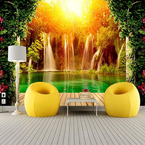 Customized Size 3D Non-woven Photo Wallpaper Waterfall Natural Landscape Background Wall Mural Living Room Bedroom Wall Paper,300cmX210cm -