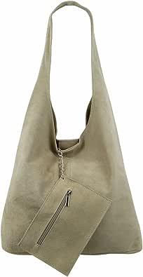 Freyday Damen Ledertasche Shopper Wildleder Handtasche Schultertasche Beuteltasche Metallic look BT02