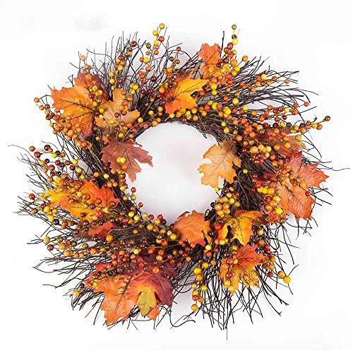 WDDqzf ornament Dekoration Statuen Erntedankfest Herbst Türkranz Tür Wand Ornament (Kieferfrucht Ahornblatt 35Cm B), Beeren Ahornblatt 50Cm -