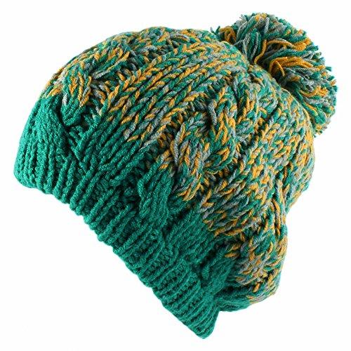 Morehats Two Tone Crochet Knit Slouchy Pompom Beanie Beret Winter Ski Hat -  Green b6f55c84fa30