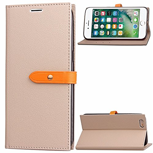 EKINHUI Case Cover Ultra Thin Leight Gewicht PU Ledertasche Business Style Brieftasche Stand Case Retro Folio Tasche mit Gürtelschnalle & Card Slots für iPhone 6 & 6s ( Color : Black ) Gray