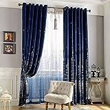 Demiawaking Schloss-Thermo-Vorhang, mit Ösen, blickdicht, für Kinderzimmer, Schlafzimmer, Wohnzimmer, als Dekoration marineblau