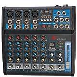 K KT-06UP 6-Kanal Mixer mit integrierter Soundkarte, Effekten, Bluetooth und MP3-Player