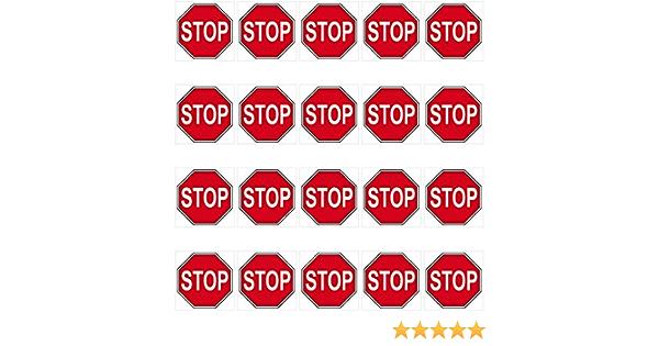 Greenit 20 Aufkleber 3cm Stop Schild Zeichen Symbol Modellbau Mini Sticker 4061963009499 Auto