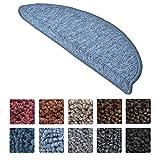 Beautissu Stufenmatten ProStair 15er Set in 55x15cm Treppenmatten eingekettelt, starke Befestigung - Grau-Blau