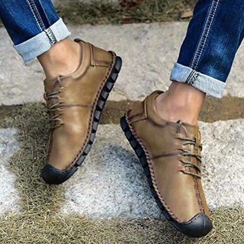 Los Cuero Zapatos De Planas Hombres De Los Los Ocasionales Marrón Cómodos color Deportes 39 De Respirables Mocasines Caqui 40 HHxwnq