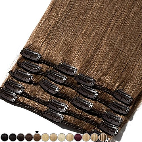 Extension clip capelli veri 8 fasce 100% remy human hair testa piena xl set lisci naturali lunga 55cm pesa 110grammi, 6 castano