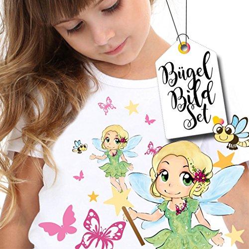 Glühwürmchen, Sternen und Schmetterlingen von Wandtattoo-Loft® / Applikation zum selbst Aufbügeln / Farbig / Patches / T-Shirt Aufbügler ()