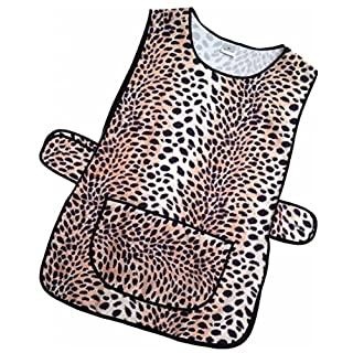 Ladies Tabard Leopard Print pattern 100% Polyester with Black Piping to Edge, Large Pocket, Button Fastening at Side XXXOS (56-58 inches)