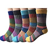 5 Paar Winter Wolle Damen Socken, Bunte Gemusterte Stricksocken, MIX 5, one size