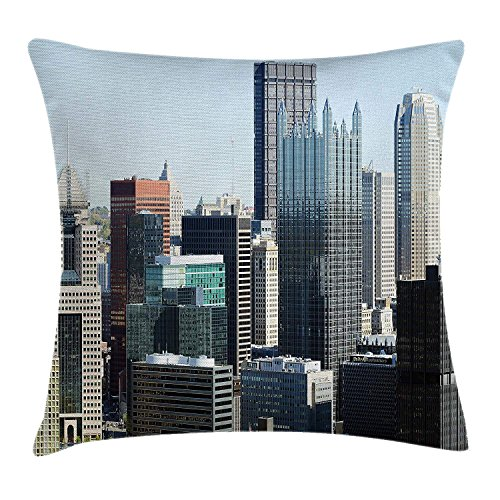 Yinorz USA Throw Pillow Cushion Cover, American Architecture Pittsburgh PA Skyline Pennsylvania Modern Cityscape, Decorative Square Accent Pillow Case, 18 X 18 Inches, Grey Silver Light Blue