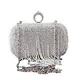 Lovely Rabbit Women's Sparkling Evening Clutch Bag Hochzeit Shiny Diamante Kristalle Strasssteine mit Einer Schulterkette (Color : Silver)