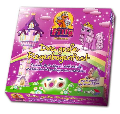 Noris 606017366 - Filly Unicorn, Das große Regenbogenfest, Kinderspiel