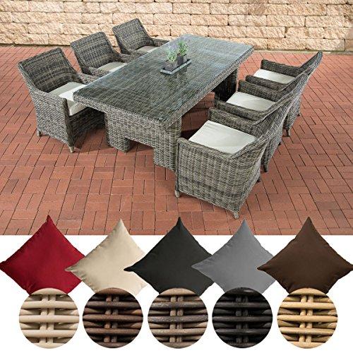 CLP Poly-Rattan Gartenmöbel Sitzgruppe SANDNES (6 Stühle + Tisch 220 x 100 cm) INKL. bequemen Sitzkissen, Premiumqualität: 5 mm Rund-Rattan grau-meliert, 5mm Rattan