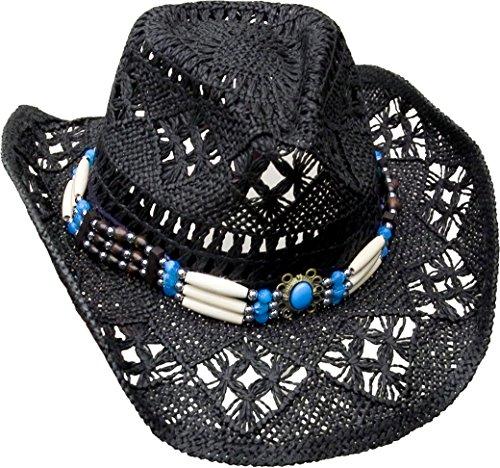 Cowboyhut mit Knochen Hutband - Westernhut - Hut Gr. S 52-56 cm - schwarz Wild West Line Dance Kleidung (Line Dance Kostüme)