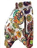 La Conchiglia Pantalone Turca Fantasia - Harem Donna - Pantaloni 3 in 1 Vestito Maglia (Bianco)