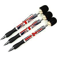 Set di 3 penne a sfera con testa ispirata ai soldati britannici e bandiera Union Jack, souvenir di Londra