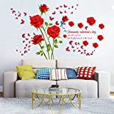 decalmile Stickers Muraux Fleurs des Roses Rouge Romantique Amovible Autocollant Décoration Murale pour Salon Chambre