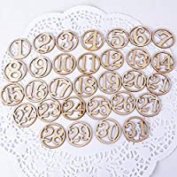 62pcs Números Madera 1-31 Calendario de Adviento para Manualidades Scrapbooking Decoraciones Navidad Boda Cumpleaños Bautizo 2 Set Nemero 1-31
