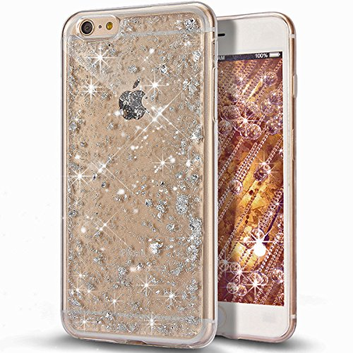 Custodia iPhone 5S, Custodia iPhone SE,Custodia iPhone 5, Case Cover per iPhone 5S 5 / SE, ikasus® Shiny Sparkly Bling Bling Glitter iPhone 5S 5 / SE Custodia Cover [Crystal TPU] [Shock-Absorption] Protettiva Trasparente Ultra Sottile Silicone Gel Cover Custodia chic Crystal Clear Case Super Sottile Bumper Case Custodia Cover per Apple iPhone SE 2016 & iPhone 5S 5 - Argento Scintillio