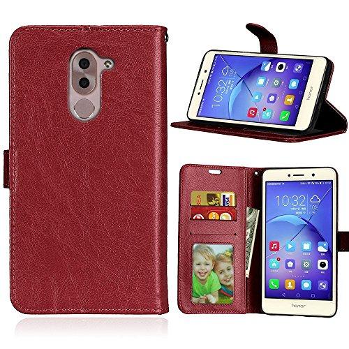 Laybomo Schuzhülle Huawei Honor 6X Hülle Ledertasche Weiches Gummi Silikon TPU Haut Beutel Schützend Stehen Bilderrahmen Brieftasche Schale Tasche Handyhülle für Huawei Honor 6X (Braun) (6x Bilderrahmen)