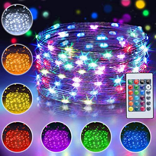 10M 100 LED Bunt Lichterkette Außen, 16 Farben USB Kupferdraht Lichterkette für Zimmer mit Fernbedienung & 4 Modi, Wasserdichte IP65 Farbwechsel Fairy Lights fur Weihnachtsbaum, Party, Kinderzimmer